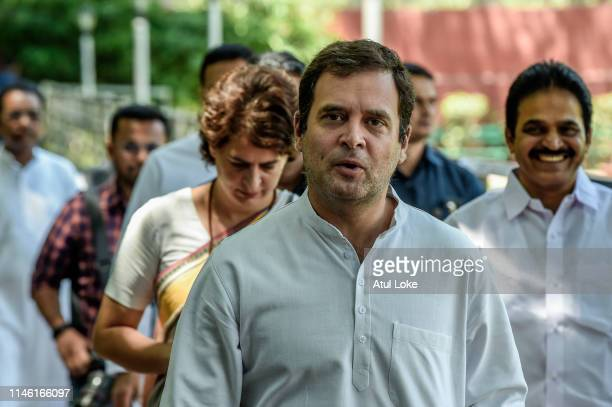 Rahul Gandhi and Priyanka Gandhi arrive at the Congress party headquarters to attend the Congress working committee meeting to review the partie's...
