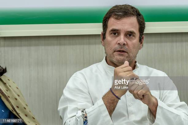 Rahul Gandhi at the Congress party headquarters to attend the Congress working committee meeting to review the partie's election performance in New...