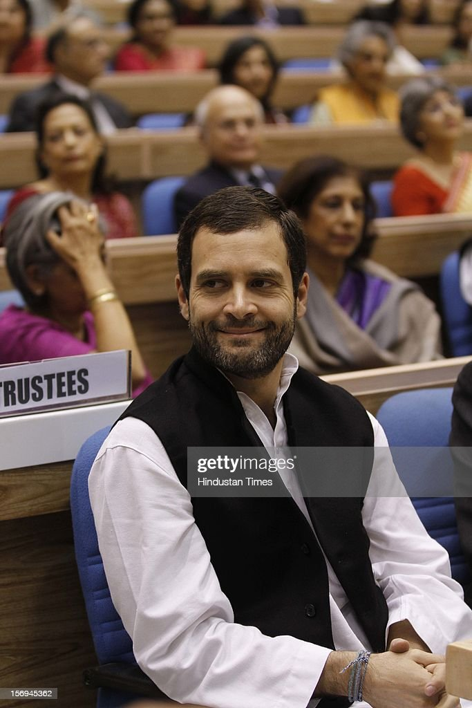 Rahul Gandhi during the Myanmar's opposition leader and Nobel laureate Aung San Suu Kyi delivers the Jawaharlal Nehru Memorial lecture on November 14, 2012 in New Delhi, India.