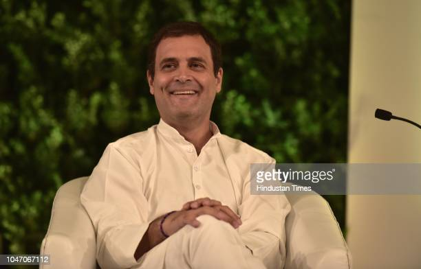 Rahul Gandhi President Indian National Congress during a first day of Hindustan Times Leadership Summit 2018 at Taj Palace on October 5 2018 in New...