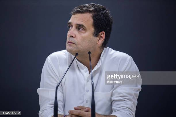 Rahul Gandhi, president of the Indian National Congress party, pauses during a news conference at the party's headquarters in New Delhi, India, on...