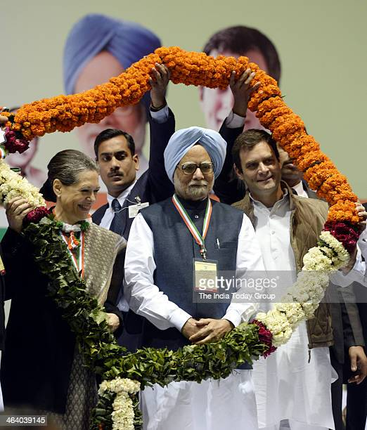 Rahul Gandhi Sonia Gandhi and Prime Minister Manmohan Singh at the All India Congress Committee meeting at the Talkatora Stadium in New Delhi on...