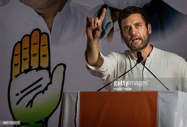 Rahul Gandhi the leader of India's ruling Congress Party speaks at a rally on April 20 2014 in Mumbai India India is in the midst of a nine phase...