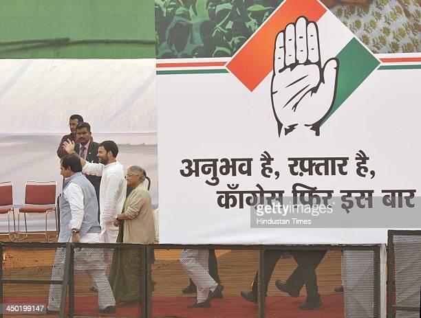 Rahul Gandhi Vice President of the Indian National Congress at a public meeting at Virat Cinema Grounds Dakshinpuri Ambedkar Nagar on November 17...