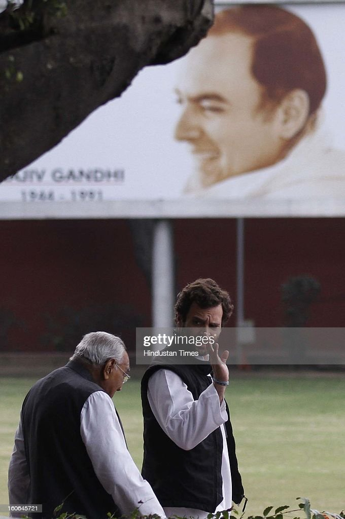 Rahul Gandhi Vice President of the Indian National Congress party along with Motilal Vohra going to attend the meeting at AICC Headquater on February 4, 2013 in New Delhi, India.