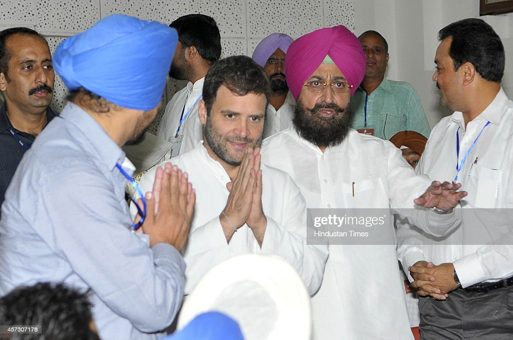 Rahul Gandhi VicePresident of Indian National Congress party along with Partap Singh Bajwa PPCC President interacting with party workers during the...