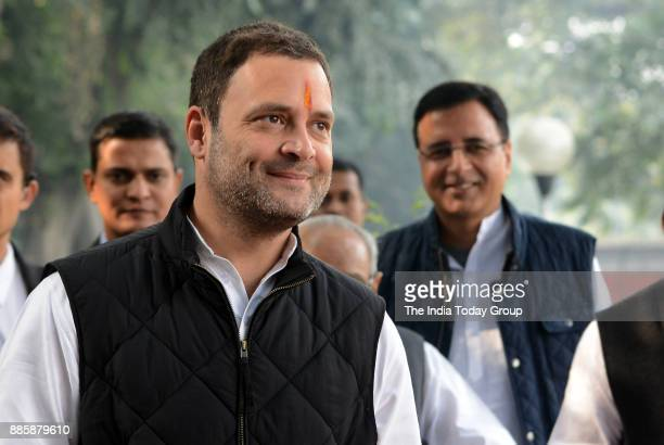 Rahul Gandhi with party leaders during filing of nomination papers for the post of party President at the AICC office in New Delhi