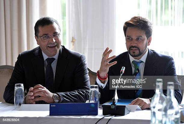 Rahul Johri and Anurag Thakur of India during the ICC Full Council meeting at The Waldorf Astoria The Caledonian on June 30 2016 in Edinburgh Scotland