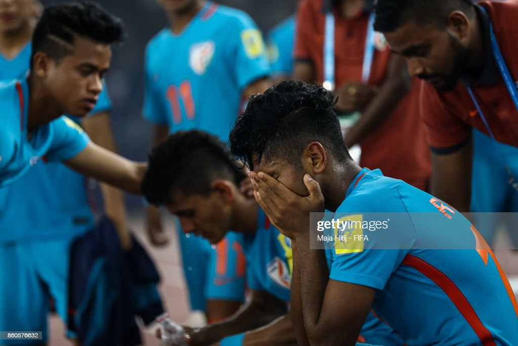 Rahul Kannoly of India reacts after the FIFA U-17 World Cup India 2017 group A match between Ghana and India at Jawaharlal Nehru Stadium on October 12, 2017 in New Delhi, India.