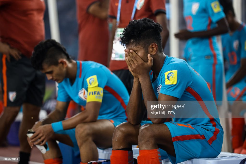 Rahul Kannoly (R) of India reacts after the FIFA U-17 World Cup India 2017 group A match between Ghana and India at Jawaharlal Nehru Stadium on October 12, 2017 in New Delhi, India.