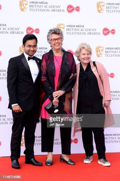 Rahul Mandal Prue Leith and Sandi Toksvig attend the Virgin Media British Academy Television Awards 2019 at The Royal Festival Hall on May 12 2019 in...