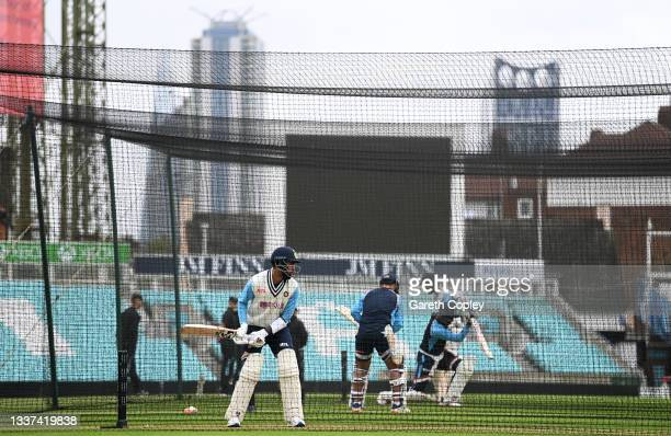 Rahul of India bats during a nets session at The Kia Oval on August 31, 2021 in London, England.