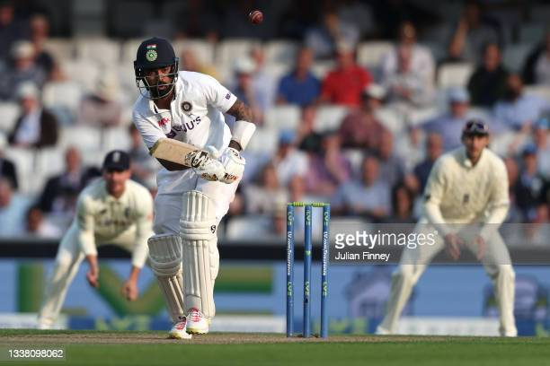 Rahul of India bats during day two of the fourth LV= Insurance Test match between England and India at The Kia Oval on September 03, 2021 in London,...