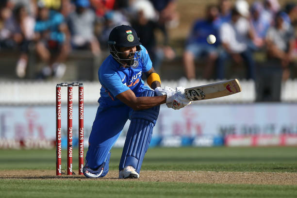 Rahul of India bats during game one of the One Day International Series between New Zealand and India at Seddon Park on February 05 2020 in Hamilton...