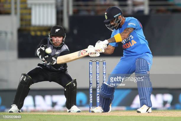 Rahul of India bats during game two of the Twenty20 series between New Zealand and India at Eden Park on January 26, 2020 in Auckland, New Zealand.