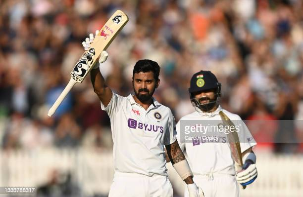 Rahul of India celebrates reaching his century with Virat Kohli during day one of the Second LV= Insurance Test Match between England and India at...