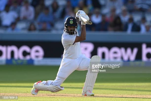 Rahul of India drives during the Second LV= Insurance Test Match: Day One between England and India at Lord's Cricket Ground on August 12, 2021 in...