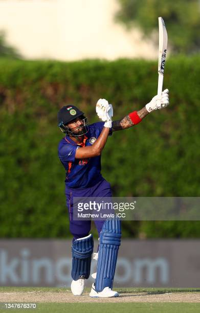 Rahul of India plays a shot during the India and Australia warm Up Match prior to the ICC Men's T20 World Cup at on October 20, 2021 in Dubai, United...