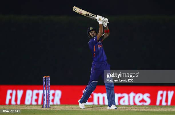 Rahul of India plays a shot during the India and England warm Up Match prior to the ICC Men's T20 World Cup at on October 18, 2021 in Dubai, United...