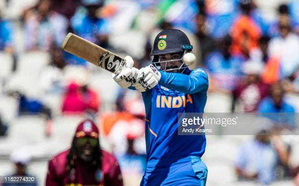 Rahul of India pulls during the Group Stage match of the ICC Cricket World Cup 2019 between West Indies and India at Old Trafford on June 27 2019 in...