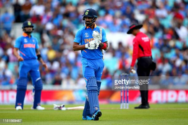 Rahul of India walks off after being bowled out by Trent Boult of New Zealand during the ICC Cricket World Cup 2019 Warm Up match between India and...