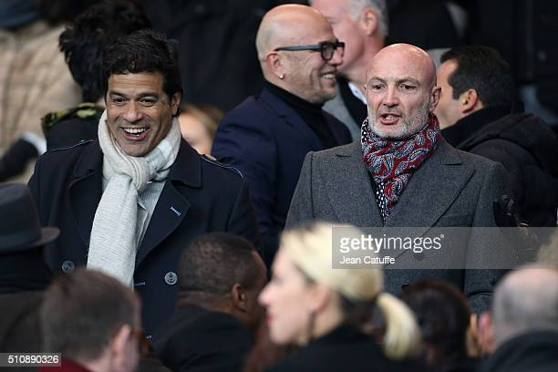 Rai and Franck Leboeuf attend the UEFA Champions League round of 16 first leg match between Paris SaintGermain and Chelsea FC at Parc des Princes...