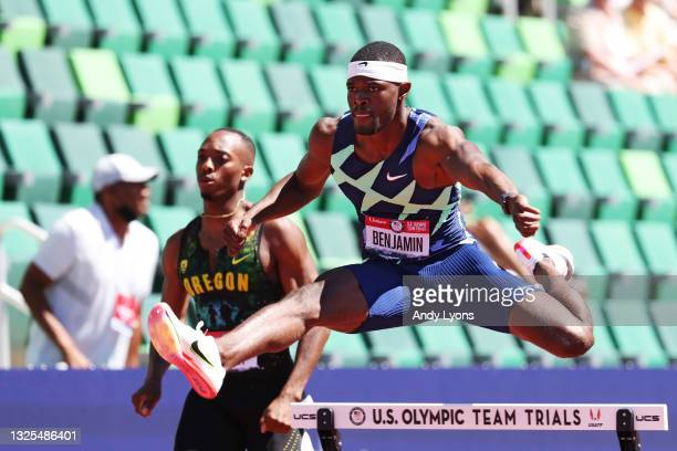 Rai Benjamin competes in the Men's 400 Meters Hurdles Semi-Finals during day eight of the 2020 U.S. Olympic Track & Field Team Trials at Hayward...