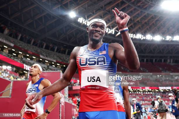 Rai Benjamin of Team United States celebrates winning the gold medal in the Men's 4 x 400m Relay Final on day fifteen of the Tokyo 2020 Olympic Games...
