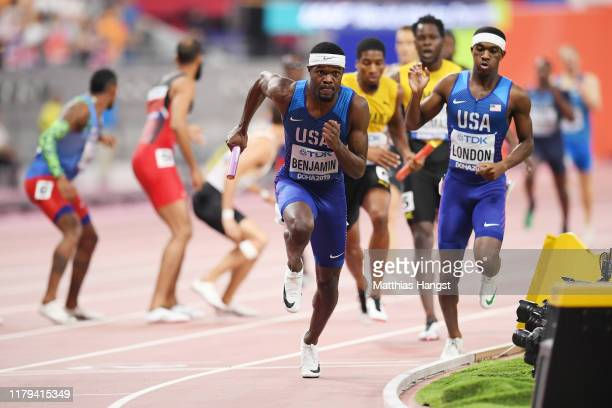 Rai Benjamin of the United States competes in the Men's 4x400 metres relay final during day ten of 17th IAAF World Athletics Championships Doha 2019...