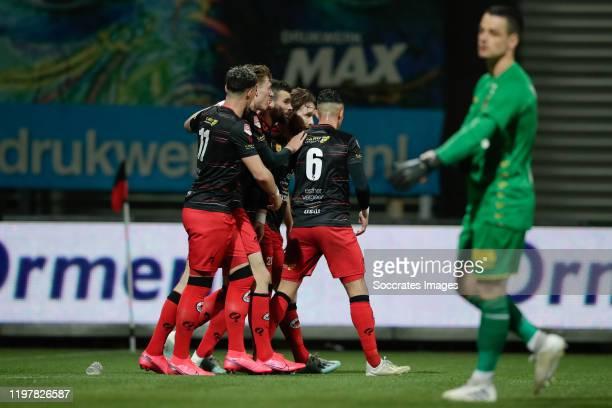 Rai Vloet of Excelsior Rotterdam, 1-0, Wouter Burger of Excelsior Rotterdam, Joel Zwarts of Excelsior Rotterdam during the Dutch Keuken Kampioen...