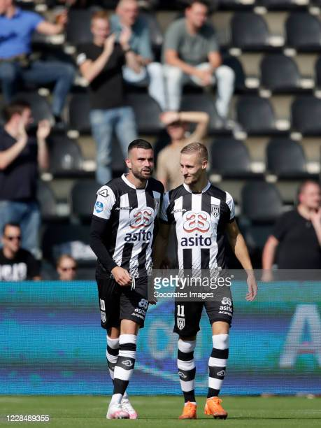Rai Vloet of Heracles Almelo celebrates 1-0 with Silvester van der Water of Heracles Almelo during the Dutch Eredivisie match between Heracles Almelo...