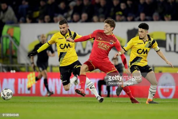Rai Vloet of NAC Breda Guus Til of AZ Alkmaar Manu Garcia Alonso of NAC Breda during the Dutch Eredivisie match between NAC Breda v AZ Alkmaar at the...