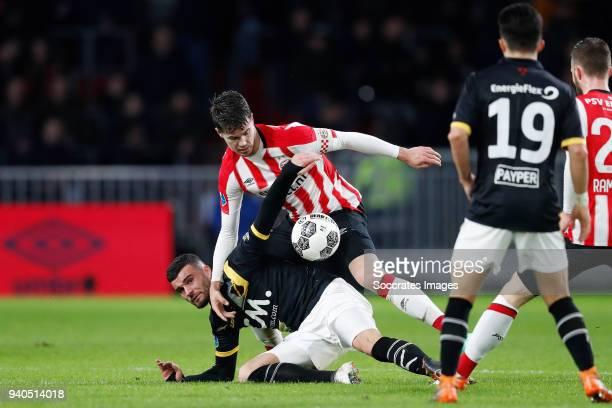 Rai Vloet of NAC Breda Marco van Ginkel of PSV during the Dutch Eredivisie match between PSV v NAC Breda at the Philips Stadium on March 31 2018 in...