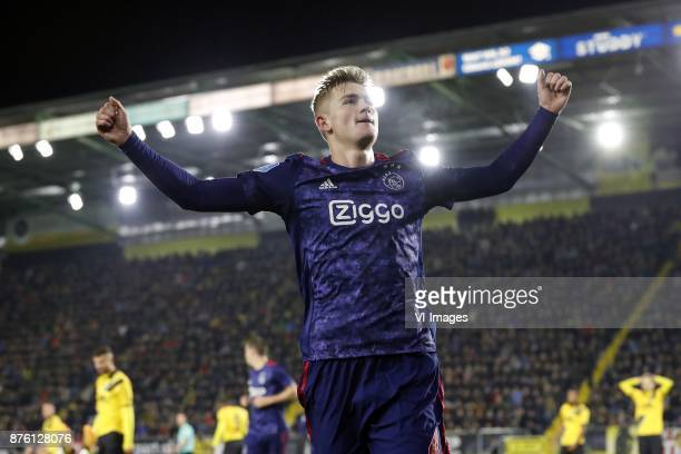Rai Vloet of NAC Breda Nick Viergever of Ajax Matthijs de Ligt of Ajax Fabian Sporkslede of NAC Breda during the Dutch Eredivisie match between NAC...