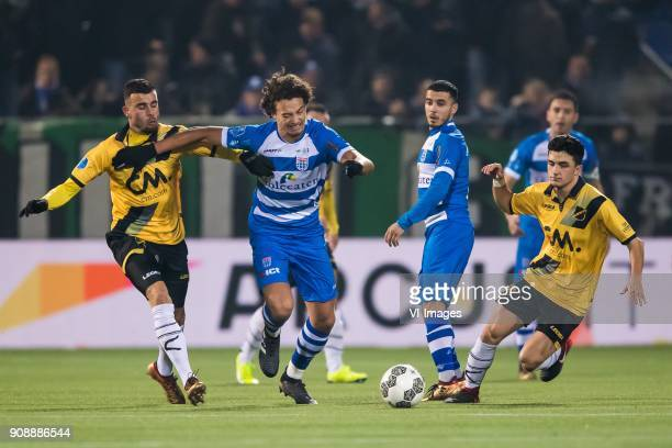 Rai Vloet of NAC Breda Phillipe Sandler of PEC Zwolle Mustafa Saymak of PEC Zwolle Manu Garcia of NAC Breda during the Dutch Eredivisie match between...