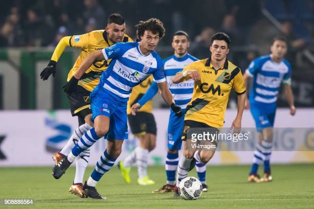 Rai Vloet of NAC Breda Phillipe Sandler of PEC Zwolle Mustafa Saymak of PEC Zwolle Manu Garcia of NAC Breda Bram van Polen of PEC Zwolle during the...