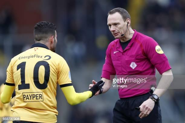 Rai Vloet of NAC Breda referee Ed Janssen during the Dutch Eredivisie match between NAC Breda and Roda JC Kerkrade at the Rat Verlegh stadium on...