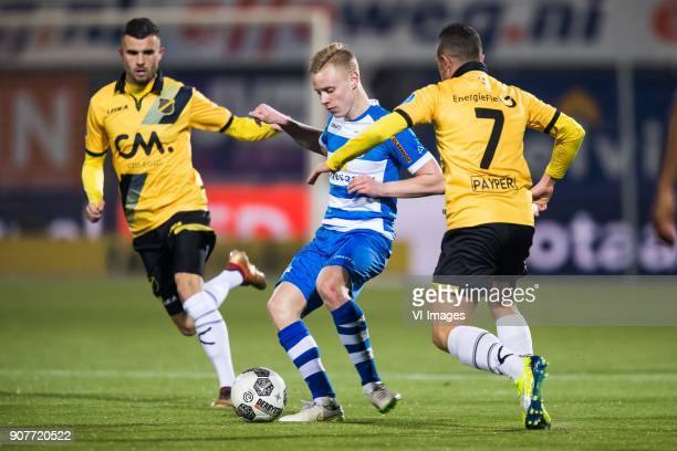 Rai Vloet of NAC Breda Rick Dekker of PEC Zwolle Giovanni Korte of NAC Breda during the Dutch Eredivisie match between PEC Zwolle and NAC Breda at...