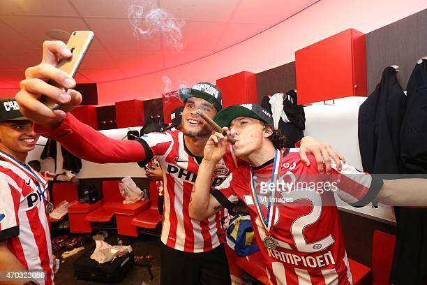 Rai Vloet of PSV Andres Guardado of PSV during the Dutch Eredivisie match between PSV Eindhoven and SC Heerenveen at the Phillips stadium on April 18...
