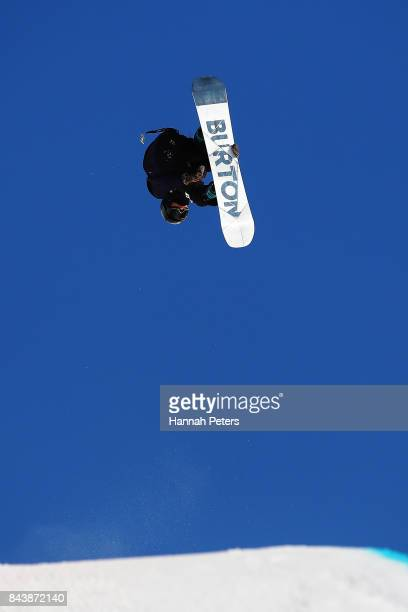 Raibu Katayama of Japan competes during the Winter Games NZ FIS Men's Snowboard World Cup Halfpipe Finals at Cardrona Alpine Resort on September 8...