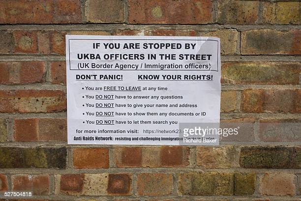 Raid or search advice printed on a sheet and pasted to a Southwark wall aimed at immigrants or asylum seekers stopped by the now defunct UK Border...