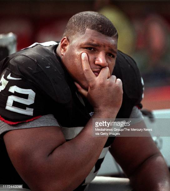SIMON Raider DT Russell Maryland sits dejected on the bench after the game The Raiders lost to the New Orleans Saints 1310