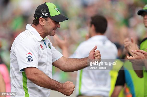 Raiders coach Ricky Stewart celebrates after the Raiders won the round two NRL match between the Canberra Raiders and the Sydney Roosters at GIO...