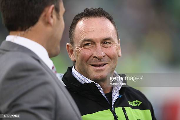 Raiders coach Ricky Stuart is interviewed before kickoff during the NRL Qualifying Final match between the Canberra Raiders and the Cronulla Sharks...