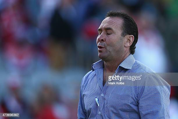 Raiders coach Ricky Stuart looks dejected as he leaves the field during the round 10 NRL match between the St George Illawarra Dragons and the...