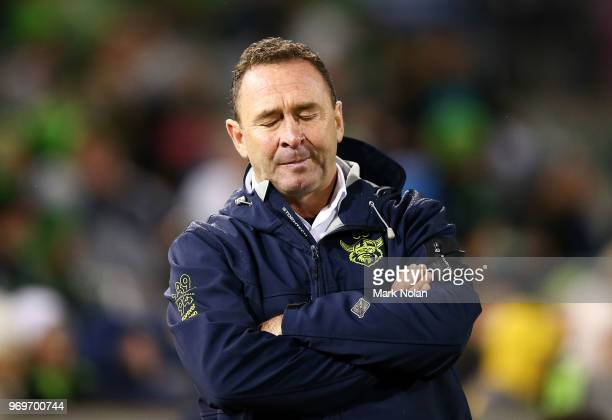 Raiders coach Ricky Stuart reacts after a the Panthers kick an equalising conversion during the round 14 NRL match between the Canberra Raiders and...