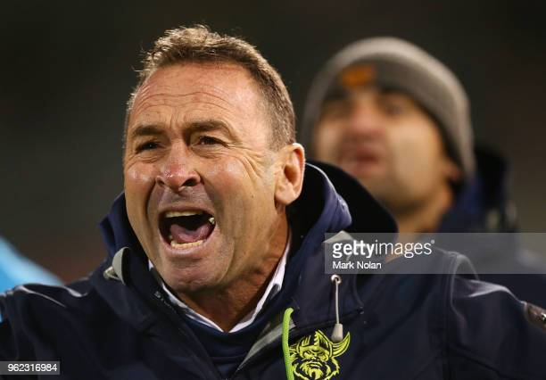 Raiders coach Ricky Stuart reacts during the round 12 NRL match between the Canberra Raiders and the Manly Sea Eagles at GIO Stadium on May 25 2018...