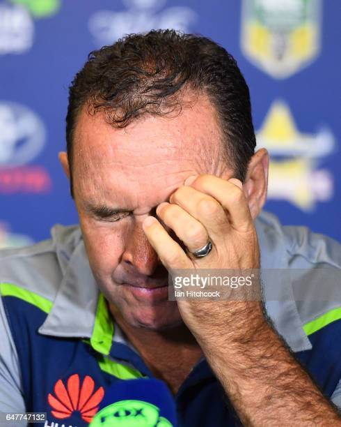 Raiders coach Ricky Stuart reacts in the at the post match media conference at the end of during the round one NRL match between the North Queensland...
