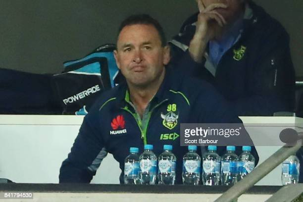 Raiders coach Ricky Stuart reacts in the coaches box during the round 26 NRL match between the Melbourne Storm and the Canberra Raiders at AAMI Park...