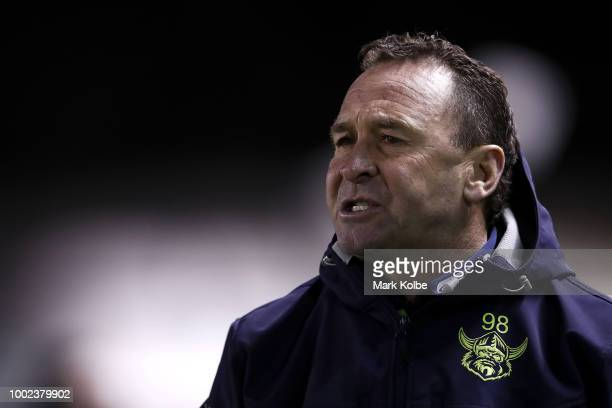 Raiders coach Ricky Stuart shouts instructions from the bench during the round 19 NRL match between the Cronulla Sharks and the Canberra Raiders at...